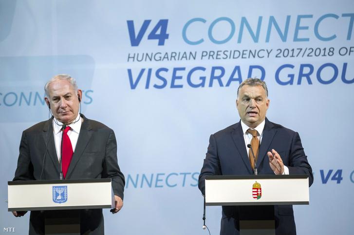 Benjamin Netanjahu és Orbán Viktor közös sajtótájékoztatója, 2017. július 19-én.