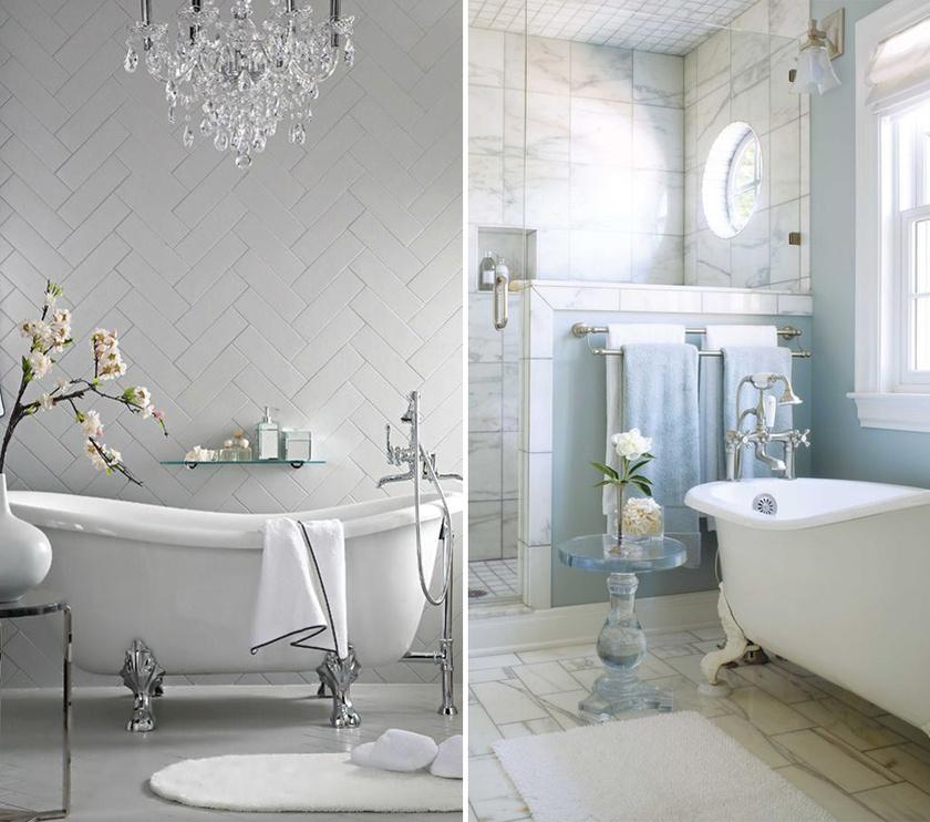 Egy napfényes fürdőszobában központi elhelyezést kaphat a lábas kád, az eredmény valóban meghitt.