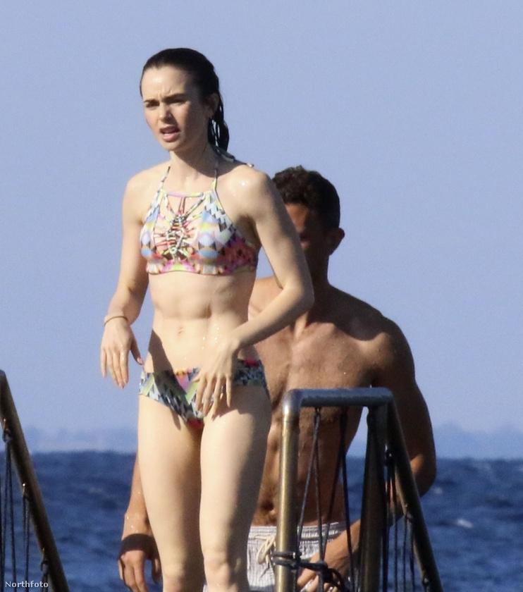 Lily Collins se egyedül mártózott meg a tengerben.
