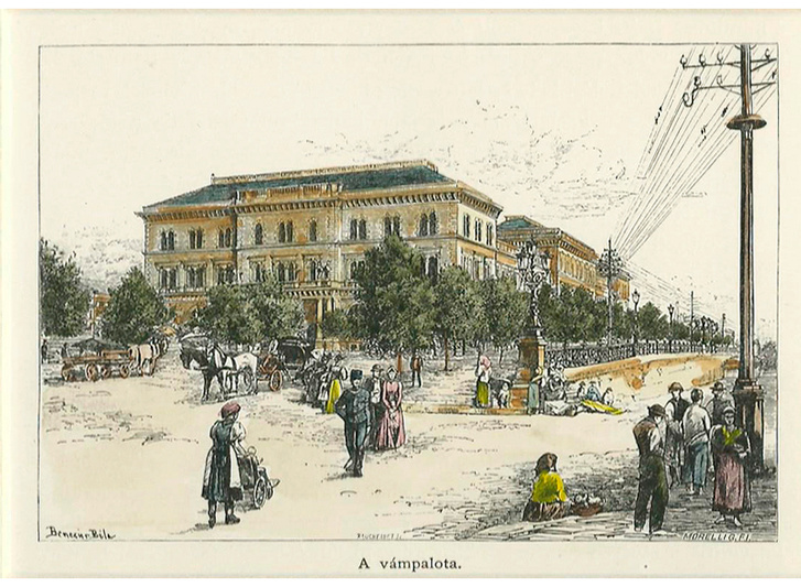 A Fővám téri vámpalota (ma: egyetem) távíró-vezetékekkel Benczúr Béla festményén