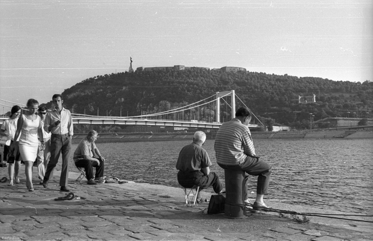 A kép valószínűleg a 80-as évek elején készült a Parlament közelében, a rakparton. Megjelentek az összecsukható horgászszékek, amelyekről kényelmesen lehetett márnázni a Horgászcikk Készítő Vállalat (HOKÉV) ultramerev üvegbotjaival, az akkor menőnek minősülő Rileh Rex márkájú NDK-s precíziós peremfutó orsókkal, és a kor favoritjával, a szakíthatatlannak hirdetett Arany Teknőc zsinórral. Egy ilyen horgászbot és orsó ára akkoriban meghaladta egy félhavi átlagfizetést, az összecsukható székről nem is beszélve. Én 15 évesen tettem szert először egy ilyen orsóra, egy havi kukoricacímerezésből összeszedett fizetésemből, de később elcseréltem egy Zenit-E típusú beépített fénymérős, Helios lencsés fényképezőgépre.