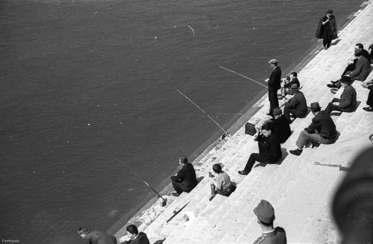 A szintén a Szabadság híd közelében készült fotón modernebb, tárolóorsós és felgyűrűzött horgászbottal próbálkoznak halat fogni 1946-ban, a lépcsőre helyezett botokból ítélve fenekező módszerrel. Folyóvízen ilyenkor a kapást a bot spiccének rezdülése jelzi.