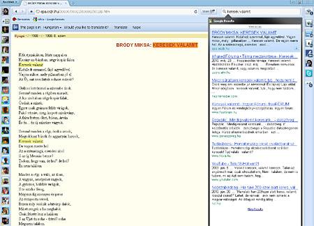 Jobbra a keresési találatok, balra a megjelenített oldal