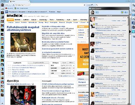 Balra Twitter, alatta Index. Munkához, szórakozáshoz egyaránt!