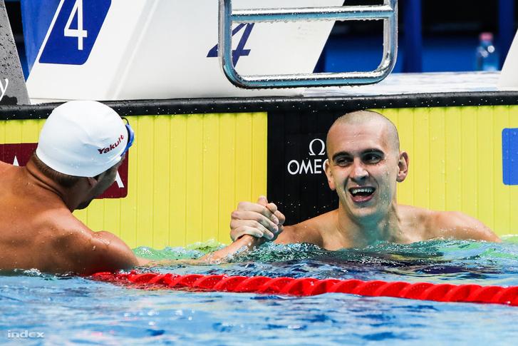 Cseh László a férfi 200 méteres pillangóúszás előfutama után