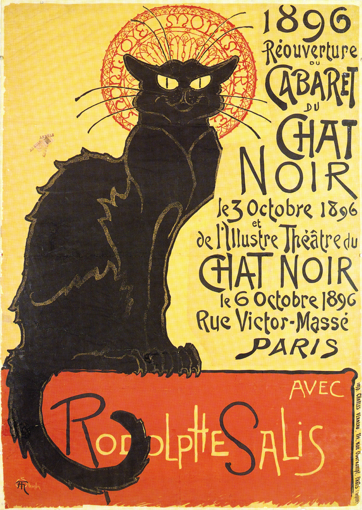 Cabaret du Chat Noir, Párizs,1896,  Théophile Alexandre Steinlen (svájci tervező grafikus, 1859-1923 )