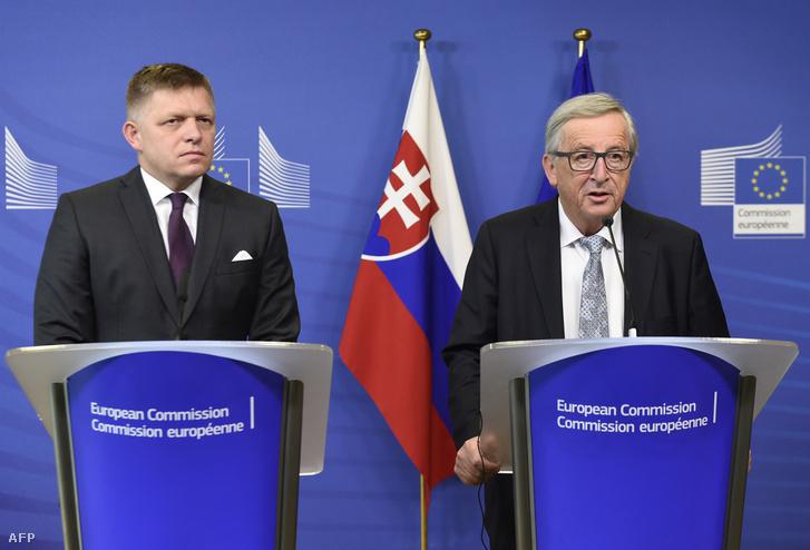 Fico és Juncker a csütörtöki sajtótájékoztatón