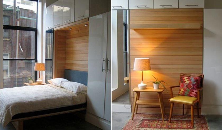 A felhajtható ágy nappal teret ad egy kis olvasósaroknak. Még több tippet és ötletet olvashatsz és nézhetsz meg képen is!