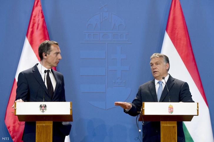 Christian Kern és Orbán Viktor sajtótájékoztatót tart az Országházban 2016. július 26-án.