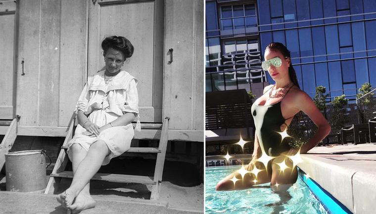Több anyag volt még a fürdőruhában 1906-ban, mint a csillogó Vajna Tímeán a 21.században.