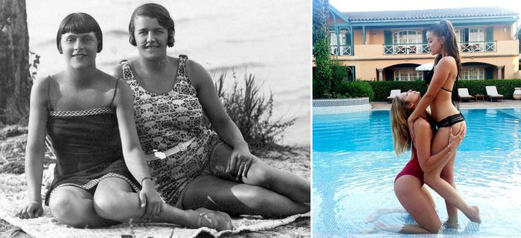 Máshogy megy ma a strandos pózolás, mint 1925-ben, ahogy azt Palvin Barbara és Mihalik Enikő közös képe is mutatja.