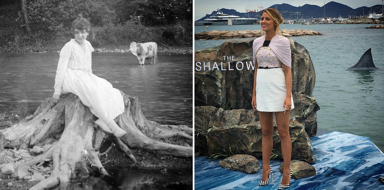 Nő, fatönk, szarvasmarha, 1915.Blake Lively, magassarkú, cápa, 2017.