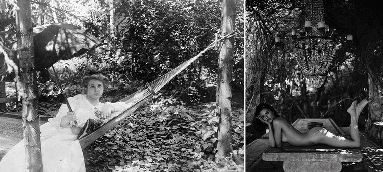 1915-ben napernyővel hűsöltek a fák alatt