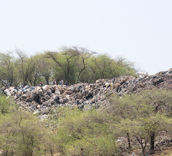 Viszkózgyártásból visszamaradó hulladék az indiai Nagdában.