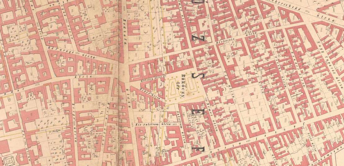 A környék egy 1872-es rendezési térképen. Zöld halvány vonal jelöli a Nagykörút leendő helyét