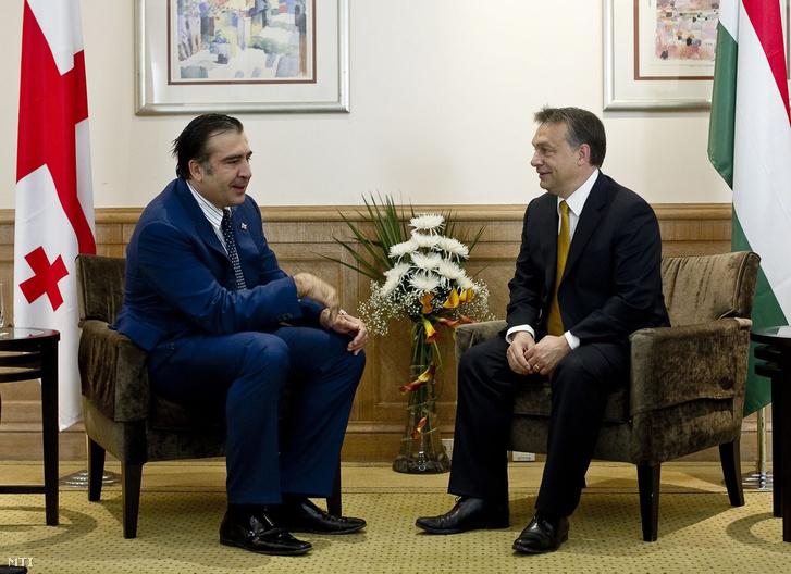 Mihail Szaakasvili és Orbán Viktor Bakuban 2010. szeptember 13-án.