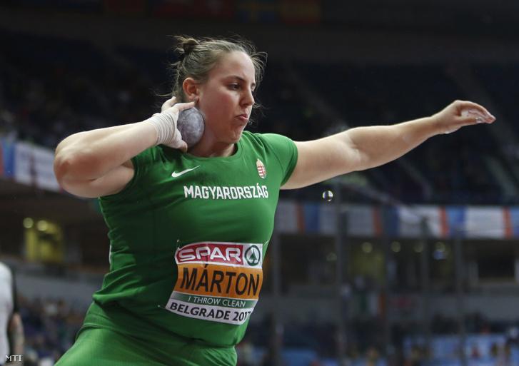 Márton Anita a belgrádi fedettpályás atlétikai Európa-bajnokság női súlylökésének döntőjében 2017. március 3-án