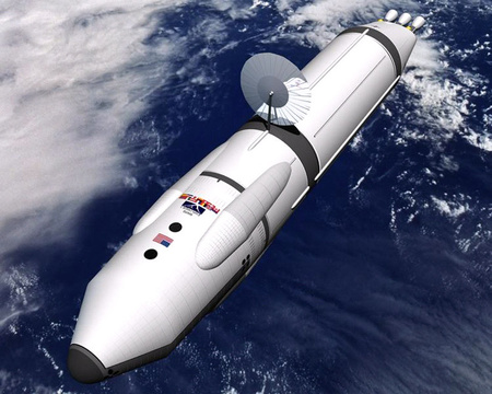 Koncepciórajz antianyag-meghajtású űrhajóról (kép: NASA)