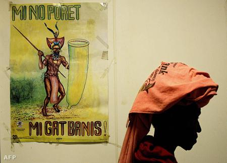 AIDS-ellenes plakát Pápua Új-Guineában