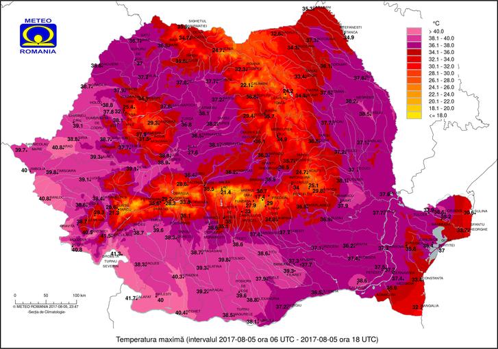 Szombati napközbeni hőmérsékleti maximumok Romániában