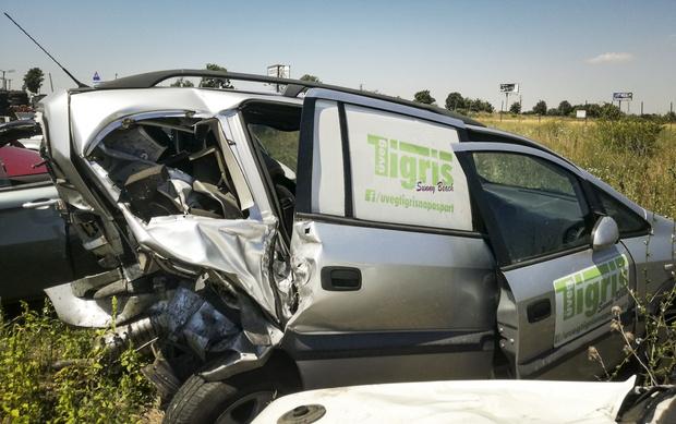 Az összetört autó