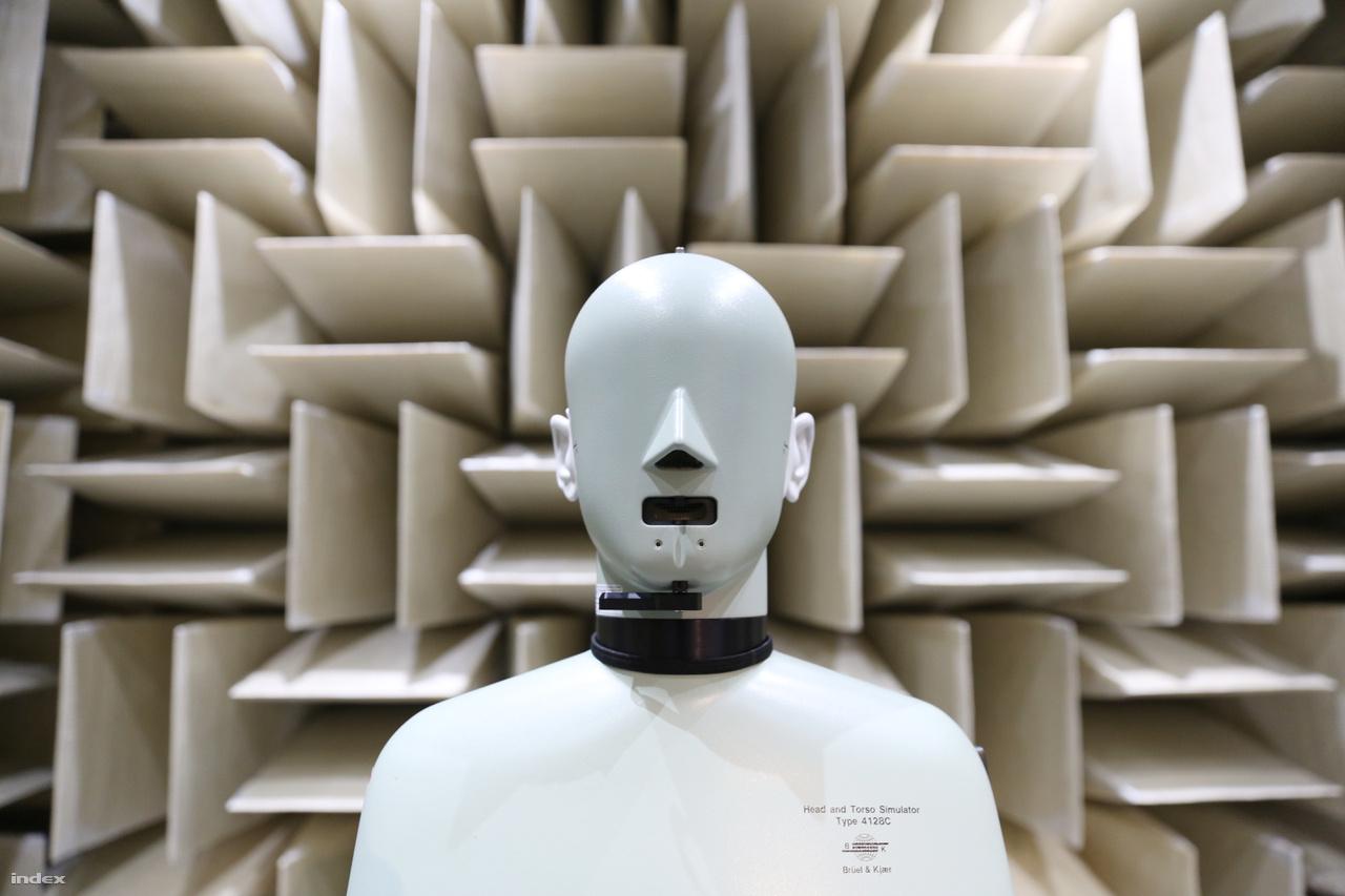 A szobában használt 25 ezer dolláros Brüel & Kjær 4128C típusú fej- és testszimulátor egy átlagos felnőtt fejének és törzsének akusztikai tulajdonságait reprodukálja az emberi hallást és beszédet imitáló eszközök segítségével.