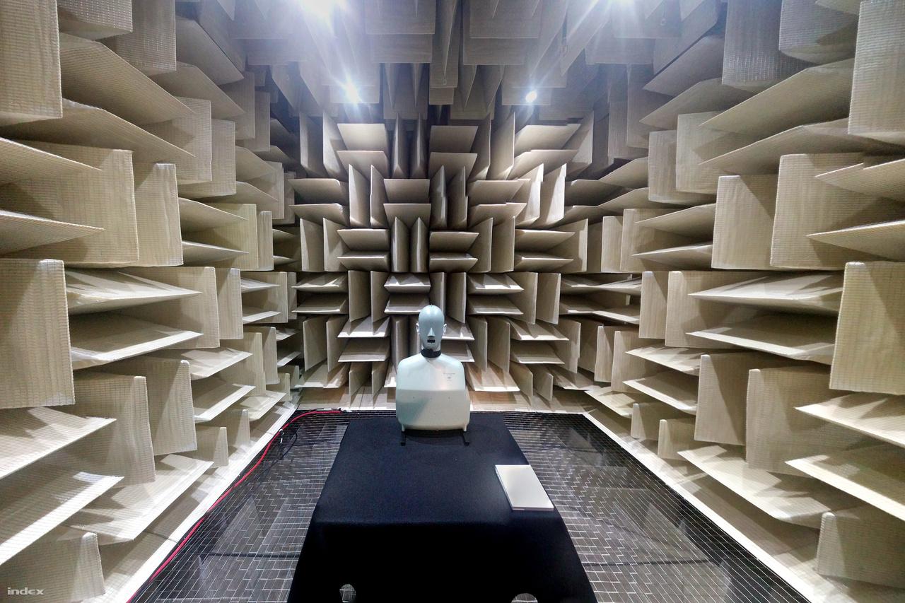 A szoba hat oldalát hangelnyelő ékek borítják, még a padlót is, ami fölött olyan acélsodronyból készült háló van, amilyet a repülőgéphordozókok használnak a leszálló harci gépek lefékezésére.