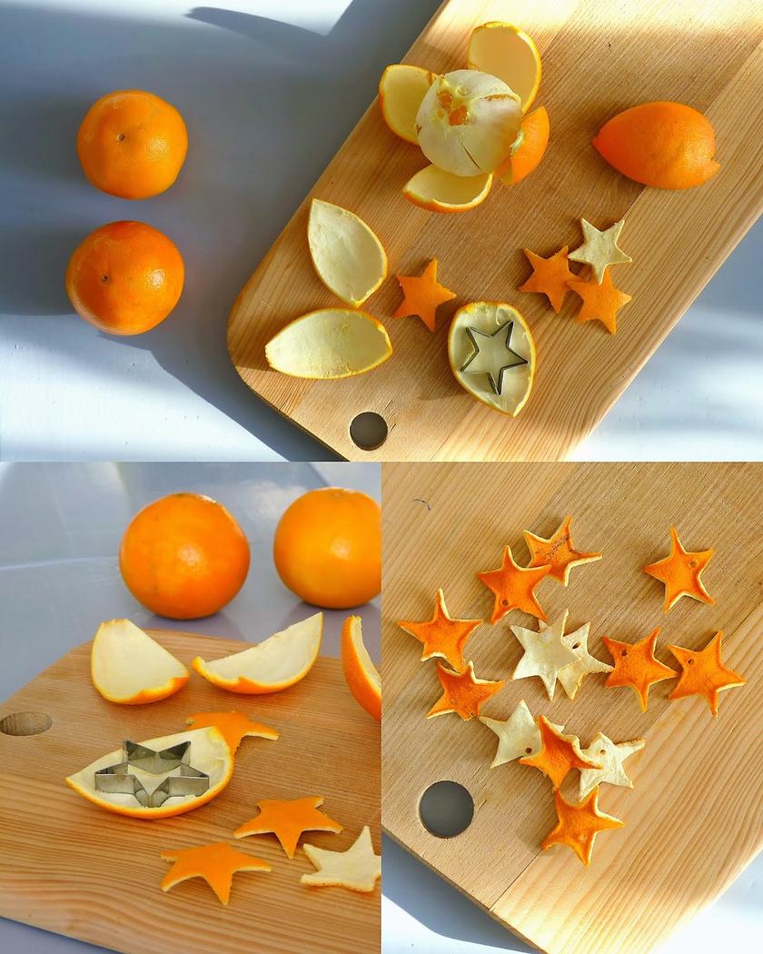 Az ünnepi szaggatóidat nemcsak a tésztánál használhatod. A még nedves narancshéjból vágj ki karácsonyi formákat. Még száradás előtt szúrd ki őket, hogy legyen hol átfűzni a szalagot vagy zsinórt.