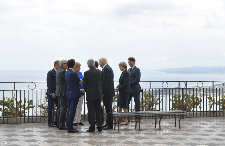 Donald Trump and european leaders chat at the belvedere of Taormina during the Heads of State and of Government G7 summit on May 26 2017 in Sicily.