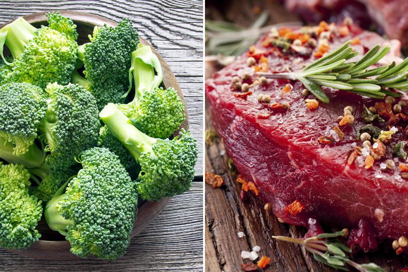 A vörös hús vastartalmának a brokkoli vagy más zöldségek C-vitaminja segít felszívódni, így lesz energiád edzeni menni, és javul a sejtjeid oxigénellátása.