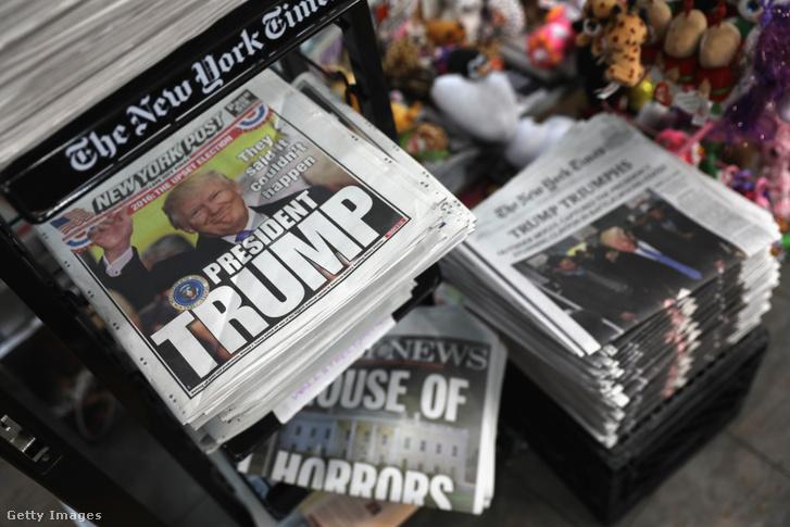 Amerikai lapok címlapjai Donald Trump megválasztása után.