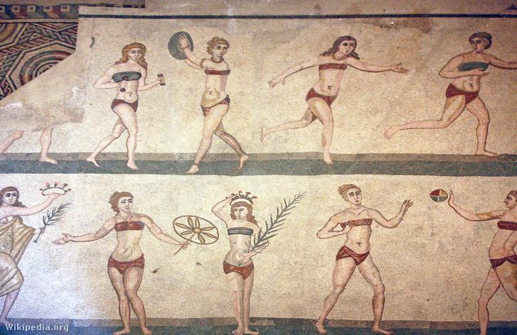 Bikinis lányok sportolnak a  Villa Romana del Casale (Szicília) egyik mozaikján