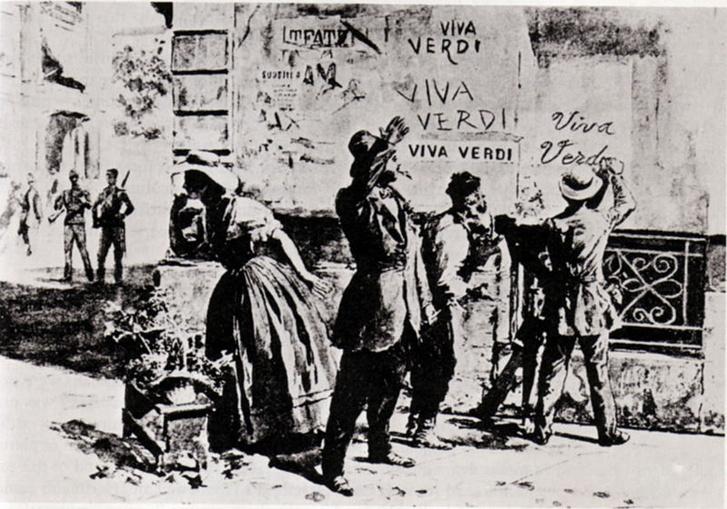 Egy 1859-es rajzon az emberek a házfalakra írják Verdi nevét: Viva V.E.R.D.I., az az éljen Vittorio Emanuele, Olaszország királya.