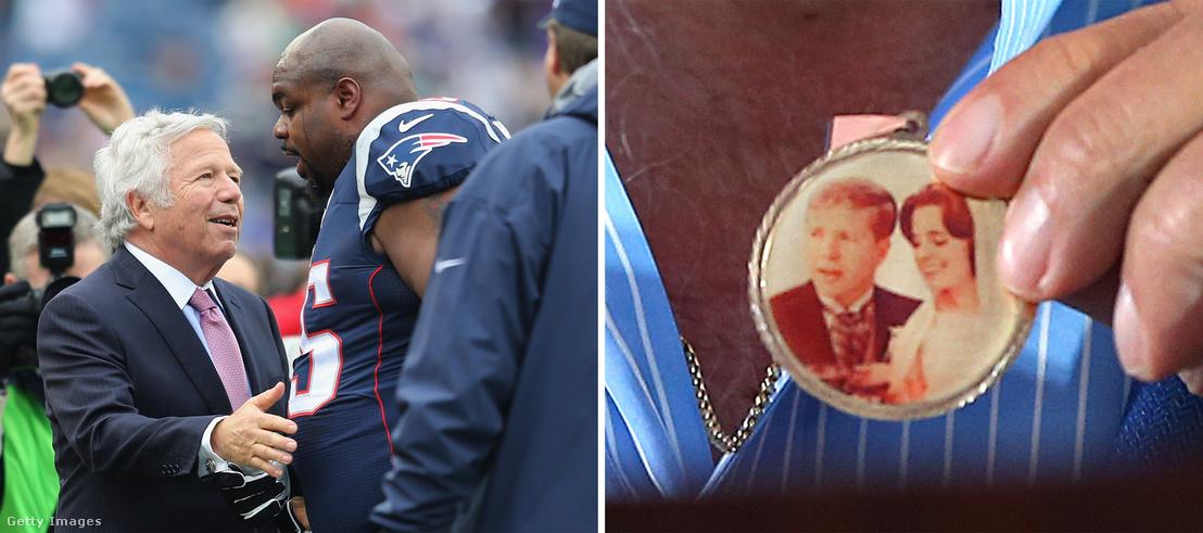 Balra a Patriots-tulajdonos Robert Kraft Wilforkkal, jobbra az a medál, amit Wilforktól kapott felesége, Myra halála után