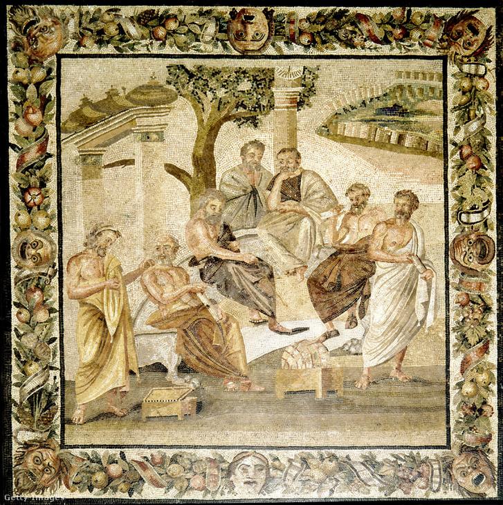 Platón és tanítványai ábrázolása egy ókori mozaikon