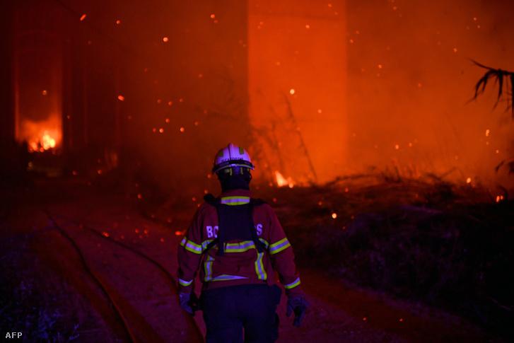 Tűzoltók küzdenek az erdőtűzzel Moinhos mellett 2017. augusztus 11-én éjjel