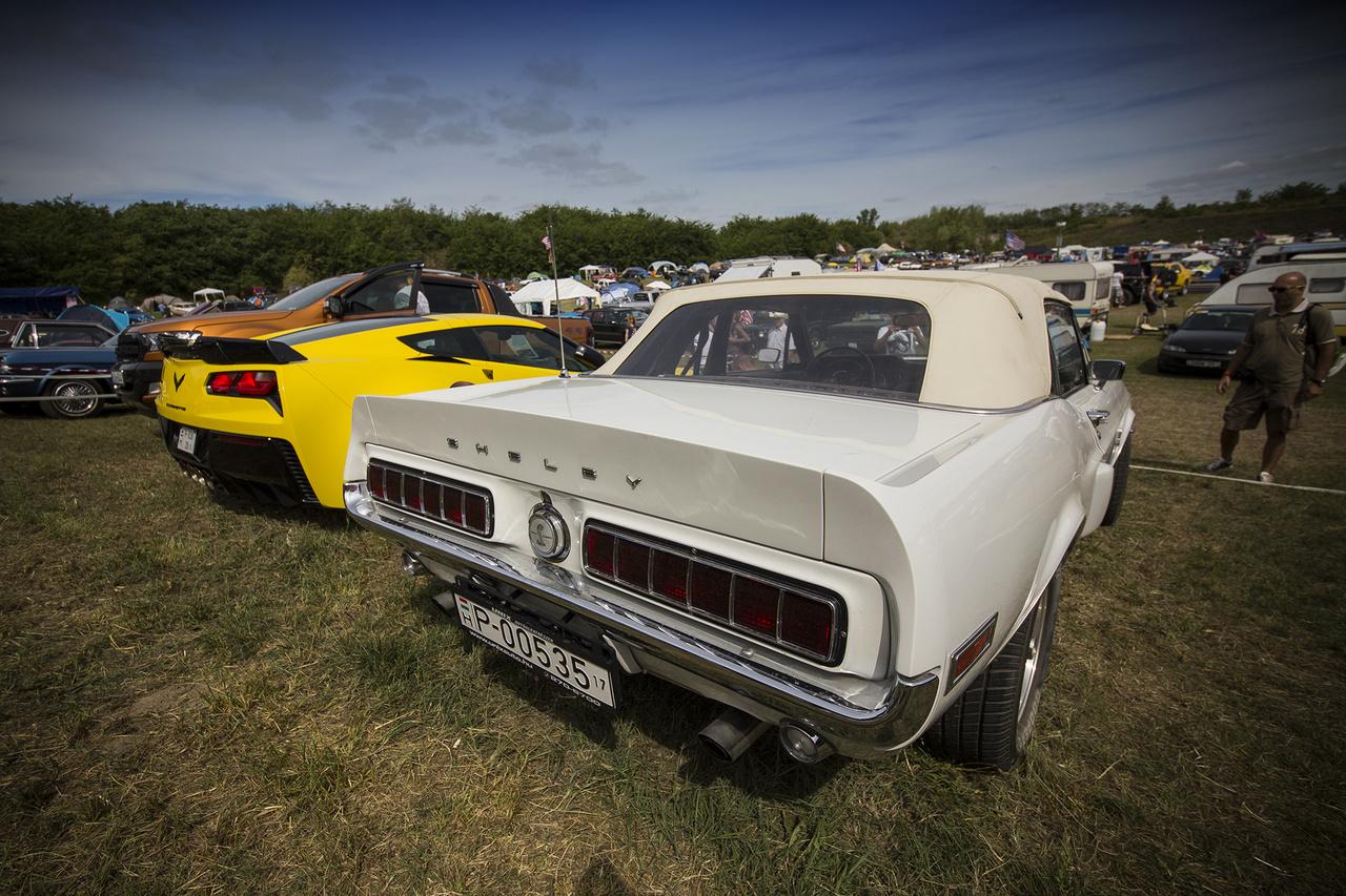 Két kívánatos és nagyon drága fenék – ízlés dolga, de az egész fesztiválra jellemző, hogy a régi, ritkaságszámba menő és jól karbantartott kultautók ellopták a show-t a csilivili szuperjárgányok elől – az 1968-as Shelby Cobra GT 500 convertible árban is elszaladt a Chevrolet új Corvette-jéhez képest.