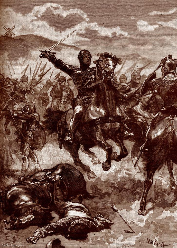 Edward, a Fekete Herceg a Crécy csatában 1346 augusztus 26. Franciaország. III. Edward fiát a Százéves háborúban a franciák felett Crécy-nél és Poitiers-nél a aratott győzelem igen népszerűvé tette élete hátralévő részére