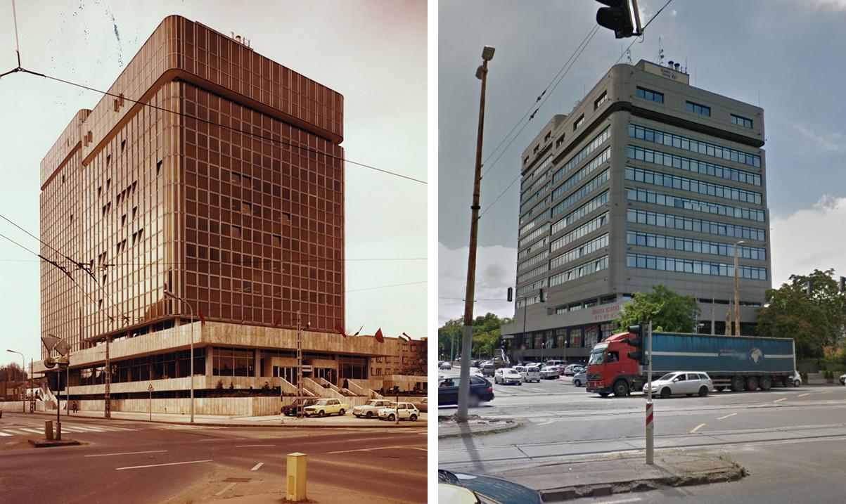 A Metalimpex-Konsumex közös székháza építésekor (bal oldalt; 1977 körül) és Hermina Towersként napjainkban (jobb oldalt, 2016)