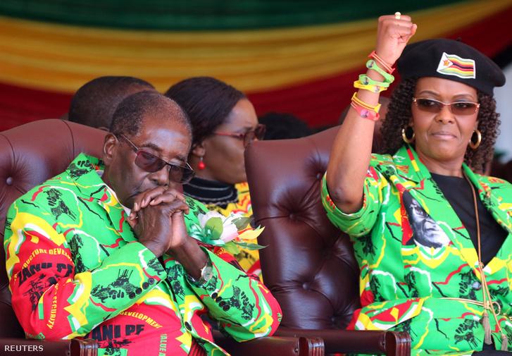 Robert Mugabe és felesége Grace