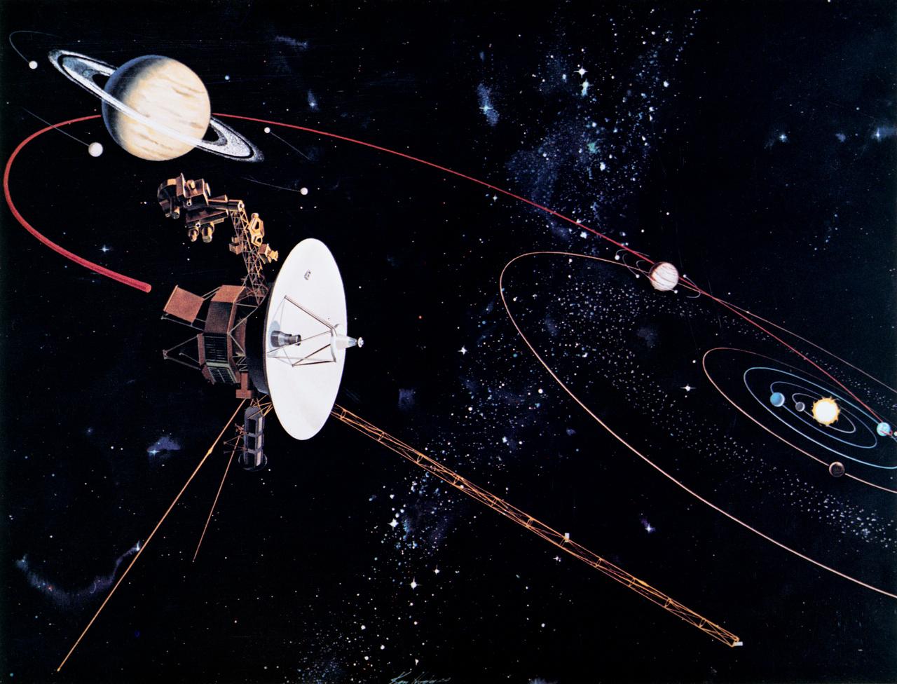 Művészi koncepció a Voyager űrszondák útjáról a Naprendszerben.