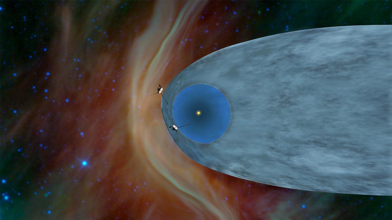 2013. szeptenber 12. Az illusztráció azt mutatja, hogy hol járnak a Voyager űrszondák. A Voyager 1 már elhagyta a Naprendszerünk hélioszféráját, a teret, ahová még elér a napszél, és már a csillagközi űrben halad. A Voyager 2 még a Naprendszerben mozog