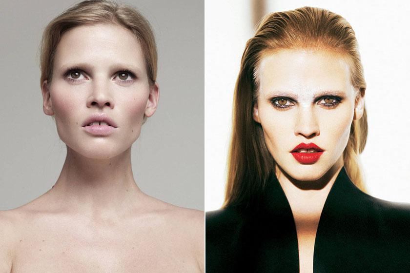 A 33 éves holland Lara Stone számára tökéletlen mosolya, egyedi arcformája és hosszúkás homloka hozta meg a hírnevet. A világ egyik legkeresettebb modellje, évente legalább 1 milliárd forintot keres.