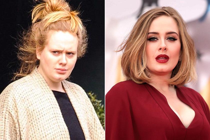Adele híres cicásra húzott szemeiről és vörös ajkairól - szinte hihetetlen, mennyire másként fest a smink nélküli fotóin.
