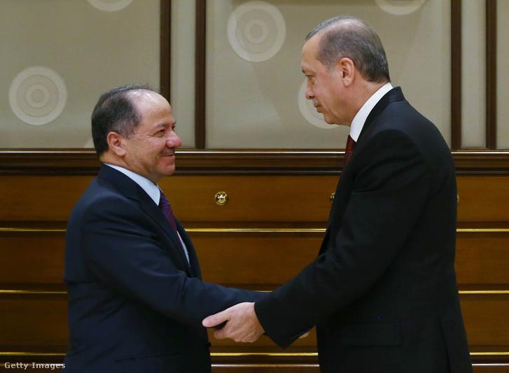 Barzani és Erdogan egy találkozón Ankarában 2015 december 9-én