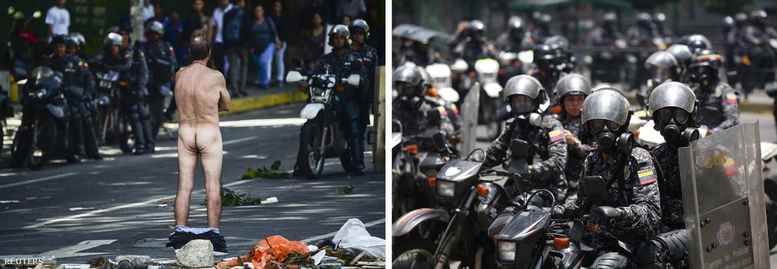Egy venezuelai tüntető letolt gatyával áll a rendőrök előtt, 2017. augusztusában.