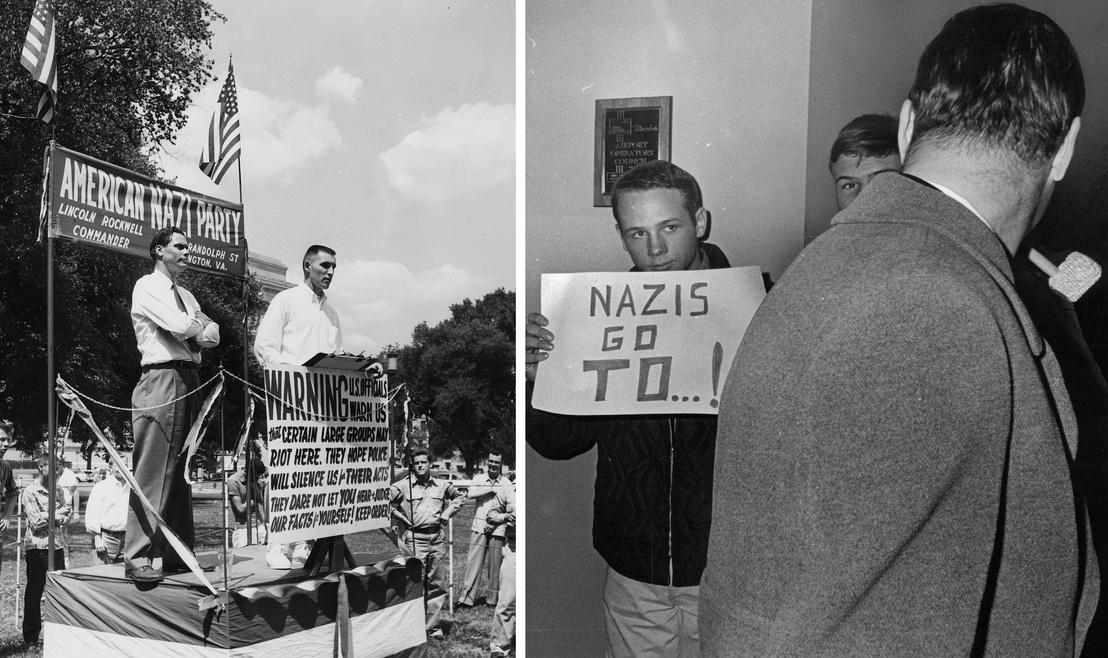 bal: George Lincoln Rockwell egy diák beszédét hallgatja az Amerikai Náci Párt rendezvényén 1960-ban Washingtonban. - jobb: Rockwell ellen tiltakozó diák a Coloradói Állami Egyetemen.