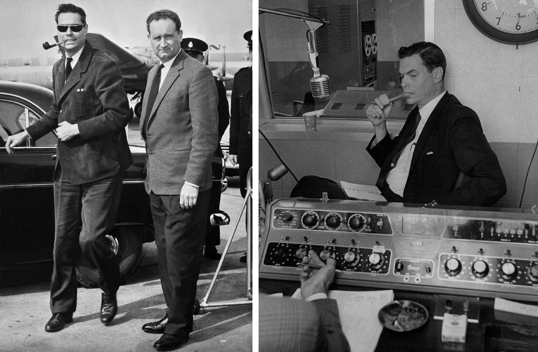 bal: Egy rendőr kíséri Rockwellt a repülőgépre 1962 augusztus 9-én, miután politikai nézetei miatt kiutasították az országból. - jobb: Rockwell beszél a denveri rádióban 1965 április 6-án.