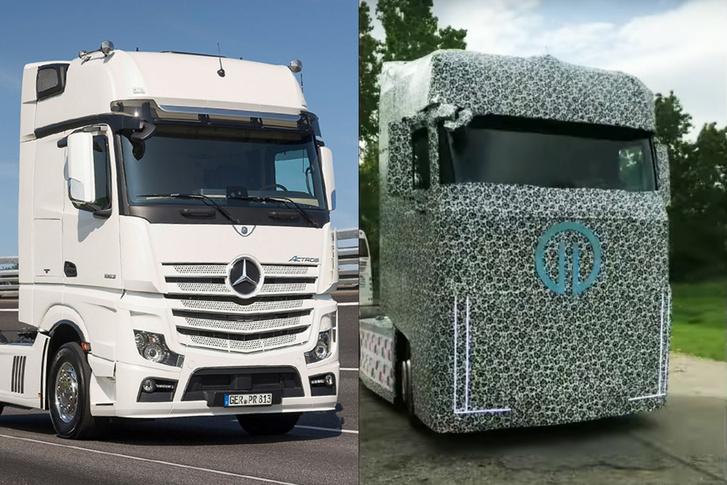 Elég egyértelmű, hogy a kalocsai mintás csomagolásban lévő teherautó egy Mercedes Actros