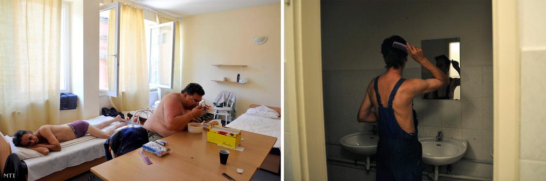 Hegesztő munkások a Maglódi úti Munkavállalói Hotel egyik szobájában 2012-ben